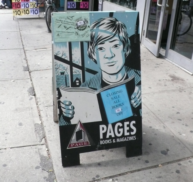 L'annuncio della chiusura di Pages a Toronto, nel 2009, disegnato dal nostro amico Michael Cho.