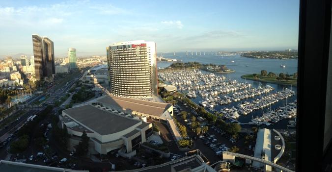 La vista dal ventunesimo piano dell'hotel Hyatt di San Diego.