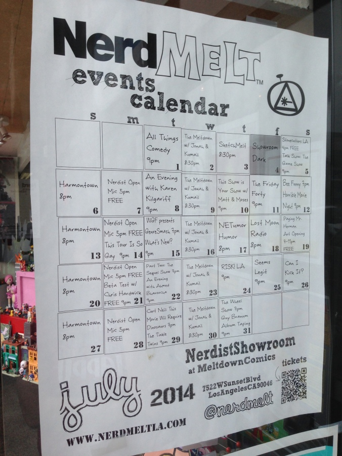 Il calendario degli eventi da Meltdown Comics, su Sunset Boulevard, a West Hollywood, Los Angeles.